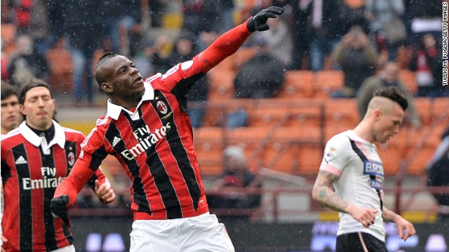 Mario Balotelli scored twice as AC Milan claimed a 2-0 win over Palermo at San Siro. The striker scored from the penalty spot in the first half before doubling his account for the afternoon by lashing home from close-range.