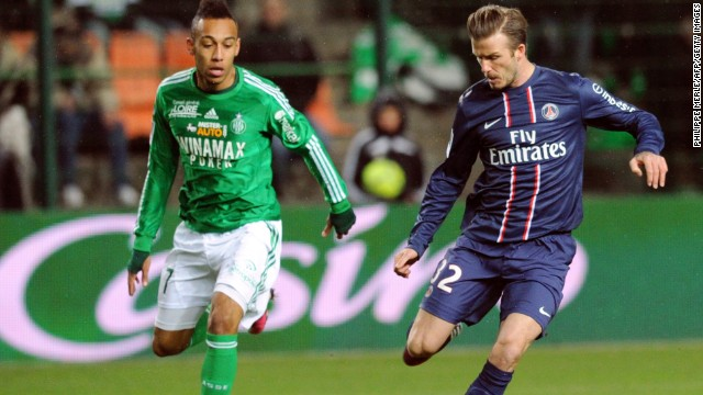 David Beckham played the full 90 minutes of Paris Saint-Germain's Ligue 1 game at Saint-Etienne but could not prevent his team from squandering a two-goal lead as it was held to a 2-2 draw. Beckham returned to the scene of his infamous red card a the 1998 World Cup where he was sent off while playing for England.