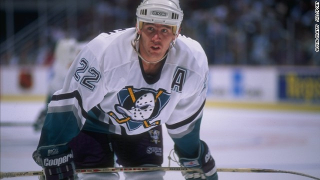 The Anaheim Mighty Duck looks like Jason Voorhees, the 'Friday the 13th' slayer, on quack. Shaun Van Allen challenges the Dallas Stars at Arrowhead Pond in Anaheim, California, in September 1995.