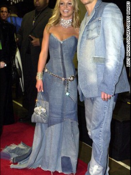 Timberlake and Britney Spears dated from 1999 to 2002. Here, in 2001, the pair attend the American Music Awards in matching denim.