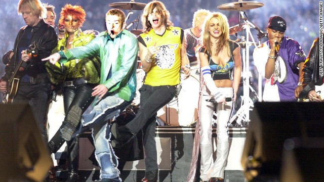 Timberlake joins Steven Tyler, Spears and Nelly on stage during the 2001 Super Bowl halftime show in Tampa.