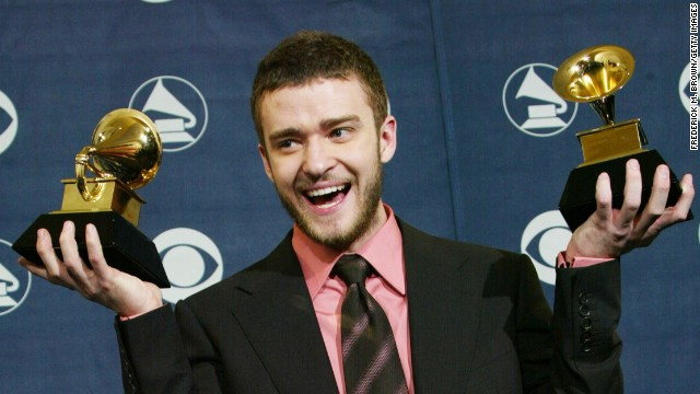"At the 2004 Grammy Awards, Timberlake wins best male pop vocal performance and best pop vocal album for his solo debut, ""Justified."""