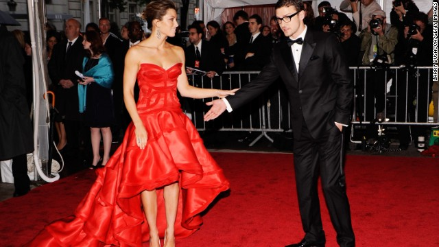 Jessica Biel and Timberlake, who were first linked in 2007, attend the Costume Institute Gala at the Metropolitan Museum of Art in 2009.