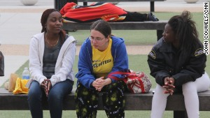 Evacuated students at the University of Central Florida on Monday waiting to return to their dorm rooms.