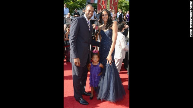 Pro basketball players Shelden Williams and Candace Parker married in 2008 and had a daughter the following year. Candace Parker still plays for the L.A. Sparks. Pictured, the couple and their daughter, Lailaa Nicole Williams, arrive at the 2012 ESPY Awards in Los Angeles, July 2012.