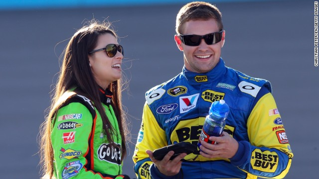 "NASCAR drivers Danica Patrick and Ricky Stenhouse Jr. got the nickname ""Stenica"" after they made their relationship public. The couple will be competing against each other for the Sprint Cup this year. Pictured, the two talk during the Sprint Cup Series Subway Fresh Fit 500 in March 2013."