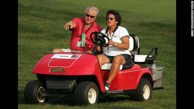 Golfer Nancy Lopez and World Series MVP Ray Knight were married for 27 years before splitting up in 2009. Pictured, Lopez and Knight watch a game in Carmel, Indiana, September 2005.