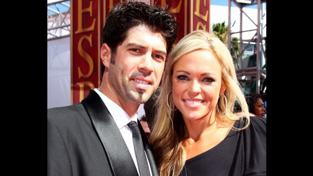 Olympic softball pitcher Jennie Finch married professional baseball pitcher Casey Daigle, and have a son, Ace, together. Pictured, Daigle and Finch arrive at the ESPY Awards on July 14, 2010, in Los Angeles, California.