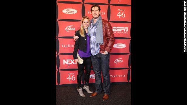 U.S. Soccer defender Heather Mitts married NFL quarterback AJ Feeley in 2010. Pictured, Mitts and Feeley attend ESPN The Magazine's &quot;NEXT&quot; Event on February 3, 2012, in Indianapolis, Indiana.