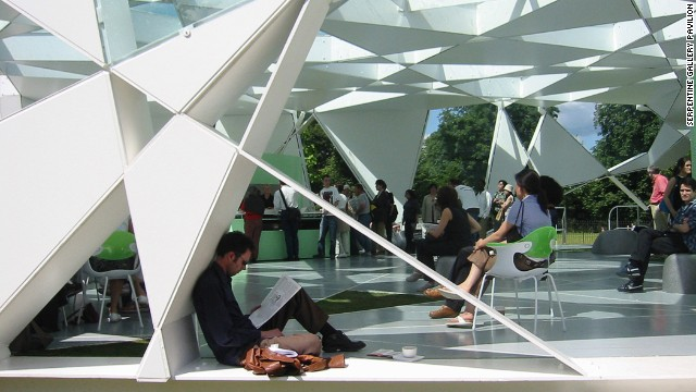 "Ito designed the temporary Serpentine Pavilion Gallery, completed in London's Hyde Park in 2002. The seemingly random pattern is derived from an algorithm of a cube that expands upon rotation. The Evening Standard newspaper called it ""a lesson in imagination."""
