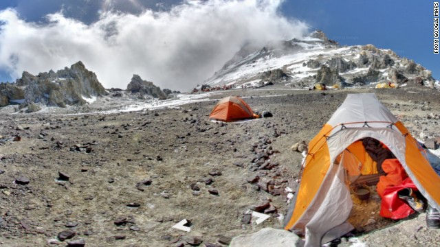 Google Maps has posted panoramic visual tours of the world's highest mountains. This one is Aconcagua, Argentina, which at 22,837 feet is the highest peak in both the Western and Southern hemispheres.