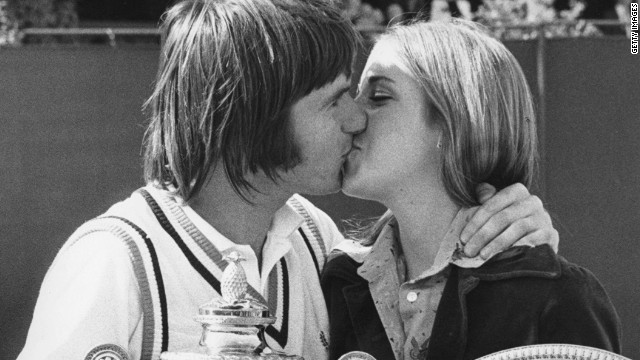 American lovebirds Jimmy Connors and Chris Evert won both singles titles at Wimbledon in 1974 and were engaged, but by the time the grass-court gra