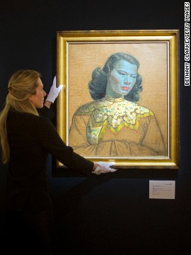 "Vladimir Tretchikoff's ""Chinese Girl"" sold for almost $1.5 million at Bonhams auction house in London on Wednesday."