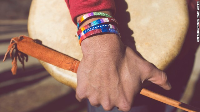 Porcupine quill bracelets by Lakota Sioux <a href='http://shop.beyondbuckskin.com/artist/ista-ska-lakota' target='_blank'>Ita Ska</a> and Red Sea Hoodie by Tahltan artist and designer <a href='http://www.edzerzagallery.com/alano-edzerza/' target='_blank'>Alano Edzerza</a>.
