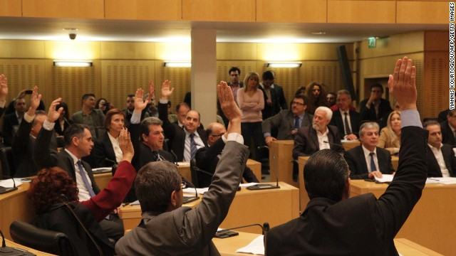 Cypriot members of parliament rejected a controversial bailout agreement.