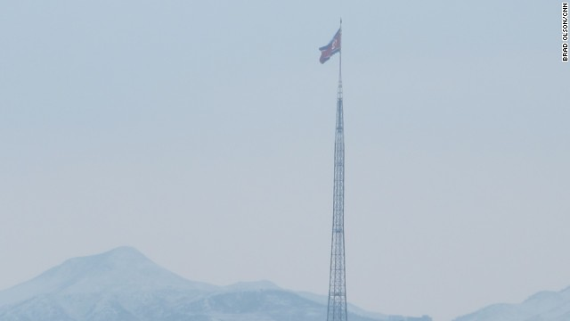 A North Korean flag flies over the village of Kijongdong. It must be one of the tallest flagpoles in the world.
