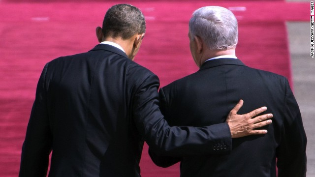 Netanyahu greets Obama at Israel's Ben Gurion Airport on March 20.