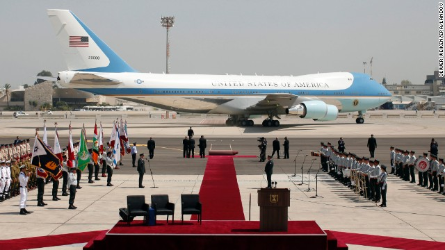 Air Force One waits at Ben Gurion Airport on March 20 after Obama's arrival.