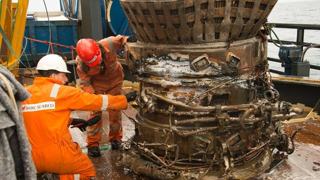 "The thrust chamber and fuel manifold, pulled out of the ocean. ""Each piece we bring on deck conjures for me the thousands of engineers who worked together back then to do what for all time had been thought surely impossible,"" Bezos wrote."