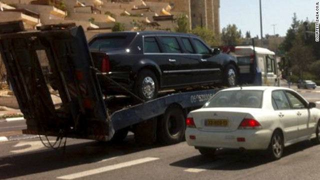 The official limousine awaiting Obama's arrival in Israel is towed after malfunctioning in Jerusalem on March 20. The limo failed to start after its driver refueled it using gasoline rather than diesel fuel, an official said.