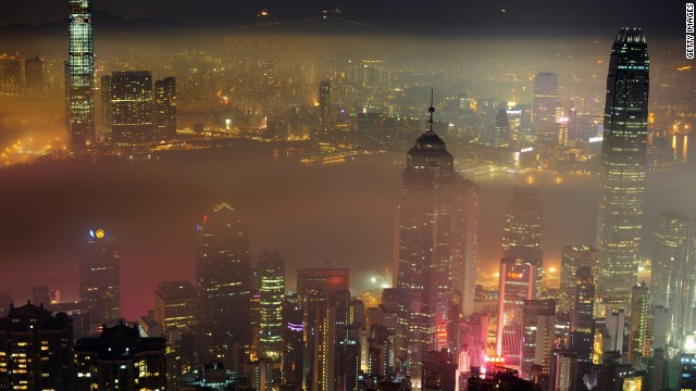Light refracted off Hong Kong's heavy pollution also contributes to light pollution.