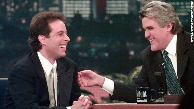 "Jay Leno starred in ""The Tonight Show with Jay Leno"" from 1992 to 2009, then moved to his own primetime show, ""The Jay Leno Show,"" on NBC. After a public controversy over scheduling changes while Conan O'Brien hosted the show in 2009, Leno returned to host ""The Tonight Show"" in 2010. Pictured, Leno jokes with actor/comedian Jerry Seinfeld, 1998."