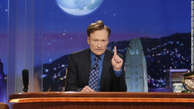 "Conan O'Brien hosted the show for seven months and left after NBC announced it would be moving his show to after midnight and Leno's primetime show to ""The Tonight Show's"" time slot. Pictured, O'Brien on his final show on January 22, 2010."