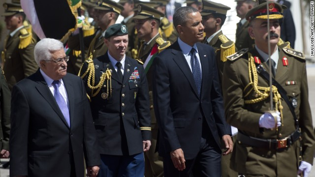 Obama and Palestinian Authority President Mahmud Abbas review the honor guard during an official arrival ceremony at the Muqata, the Palestinian Authority headquarters in the West Bank city of Ramallah, on Thursday, March 21. Obama arrived in Ramallah on his first visit as president. It's part of his sweep across the Middle East, which also includes visits to Israel and Jordan.