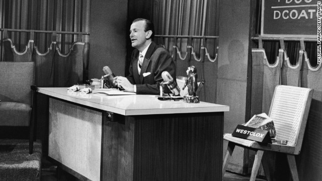 "Jack Paar's unpredictable and dramatic presence drew more than 7 million viewers every night between 1957 and 1962. The show was renamed ""The Jack Paar Show"" while he was host. Paar is seen here on the set, sometime during his stint on the show."