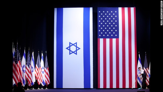 Final preparations are made before Obama's speech to Israeli students on March 21 in Jerusalem.