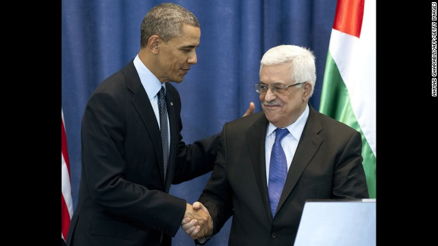 Obama and Abbas shake hands during a joint press conference following meetings at the Muqata on March 21. Obama has asked for Israelis and Palestinians to discuss a two-state solution to the long-running conflict.