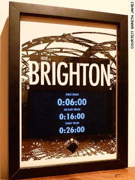 "Gareth James built this stylish, personalized train departures board to keep him informed of the times of the next trains to Brighton, UK. ""It's a little bit of art with a bit of techy-usefulness built in -- and it's proven really handy,"" he said. ""No longer do I end up hanging around on the cold train platform."""