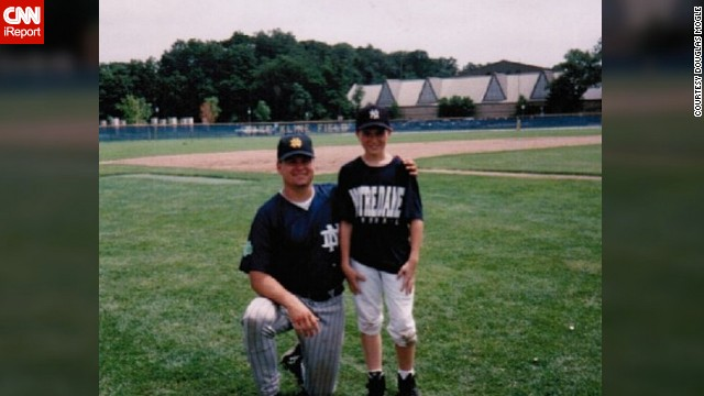 Twenty-one years ago, <a href='http://ireport.cnn.com/docs/DOC-929233'>Douglas Mogle</a> got his favorite Notre Dame baseball jersey at summer camp. Although it's worn and a tad bit smaller, he said looking at it inspires him to get back in shape.