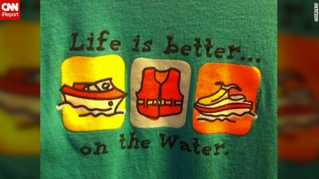 "<a href='http://ireport.cnn.com/docs/DOC-928999'>Lynn Powell's </a>favorite T-shirt reminds her of spending summers at her lake house in Arkansas. ""I'm tired of the cold, wishing summer was here and I was on the lake,"" she said."