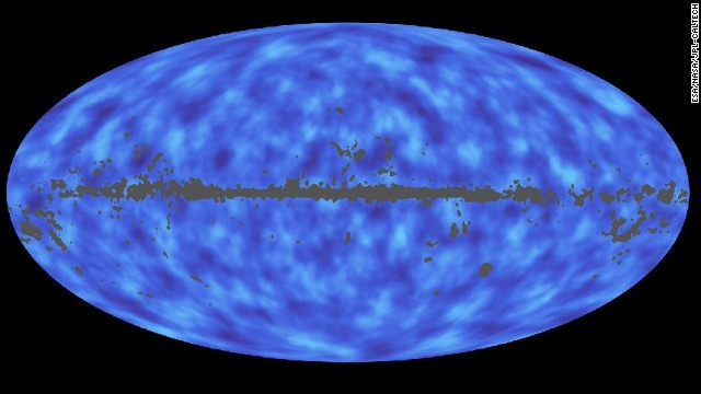 The Planck mission has given scientists insights into the distribution of matter in the universe. Normal matter, what we are made of, is only a small fraction. Dark matter, which does not interact with light, is in more abundance than we thought, based on Planck data. This map shows areas with more mass as darker and areas with less mass as lighter.