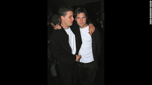 The late Corey Haim (left) and Corey Feldman pose outside Las Palmas club October 17, 2001 in Hollywood, CA. Feldman says in his new book that Haim was molested.