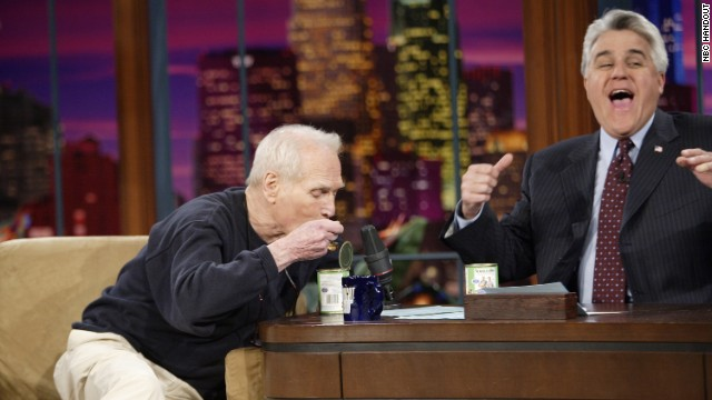 Leno asked actor and entrepreneur Paul Newman about adding pet food to his list of Newman's Own products on March 13, 2006.