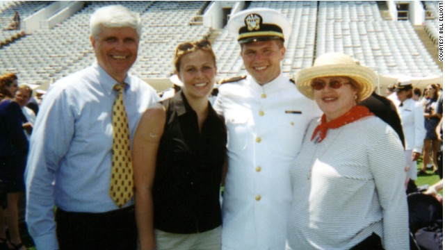 John Elliott, second from right, poses with his parents and sister at his Naval Academy graduation.