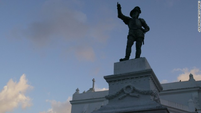 A statue of Juan Ponce de Leon sits in front of the second oldest church in the New World, San Jose Church in Puerto Rico.