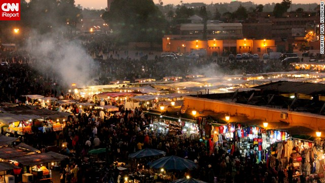 Steam rises from food stalls in Jemaa el-Fna, a popular outdoor market in Marrakech.