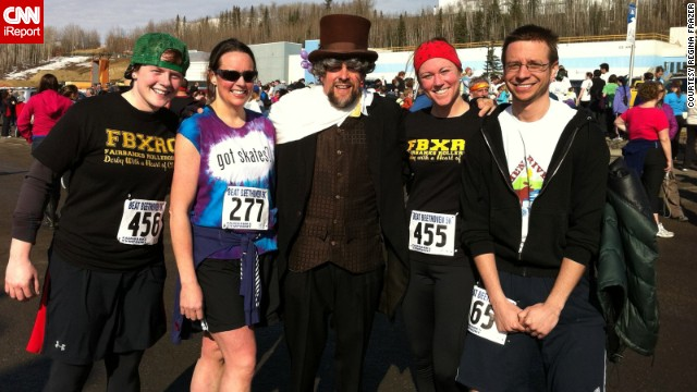 Frazer, second from the left, ran her first 5K race last April with a few of her derby teammates.