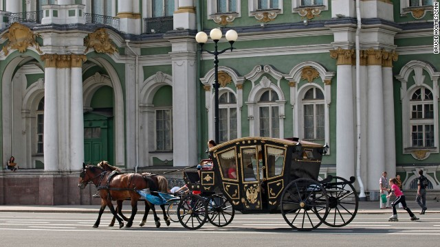 In 1905, what's now called Palace Square was the scene of the Bloody Sunday massacre when demonstrators marched toward the Winter Palace. Today, tourists take horse and carriage rides here.