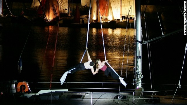 From flying through the air to balancing on beams, working as an acrobat takes enormous skill and strength -- particularly when you're battling against the elements on a lurching 12-meter yacht.