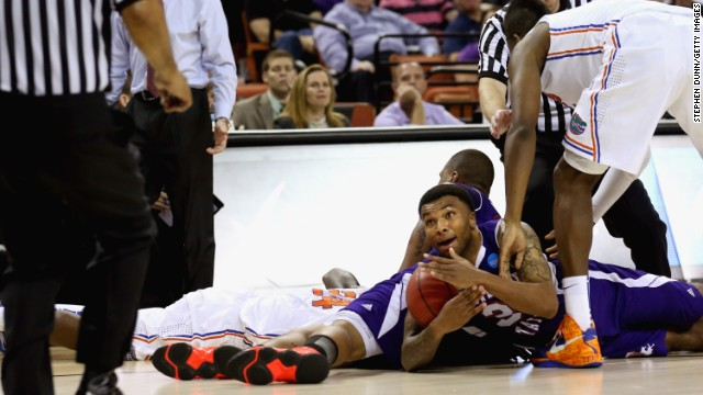 Shamir Davis of the Northwestern State Demons calls for a time out against the Florida Gators on March 22.