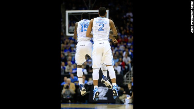 P.J. Hairston, left, and Leslie McDonald of the North Carolina Tar Heels celebrate in the first half against the Villanova Wildcats on March 22.
