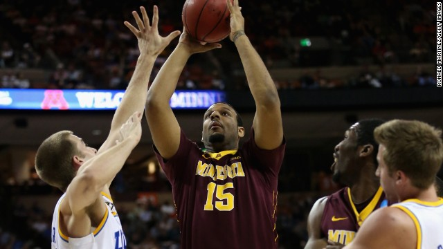 Maurice Walker of the Minnesota Golden Gophers, center, controls the ball against the UCLA Bruins on March 22 in Austin, Texas.