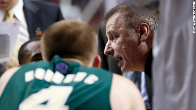 Colorado State head coach Larry Eustachy talks to his players during a timeout in the first half against Louisville on March 23.