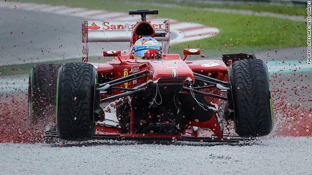Fernando Alonso won the race last year, but his 200th career grand prix was less successful. The Ferrari driver damaged his front wing early on and then made the mistake of staying out on the track too long and was not able to finish.