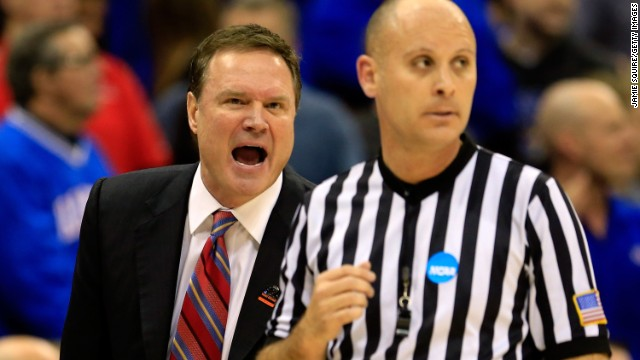 Head coach Bill Self of Kansas yells at a referee in the first half on March 24.