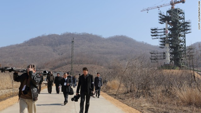 In April 2012, Pyongyang launched a long-range rocket, which broke apart and fell into the sea. The UNHA III rocket is pictured on its launch pad in Tang Chung Ri, North Korea.